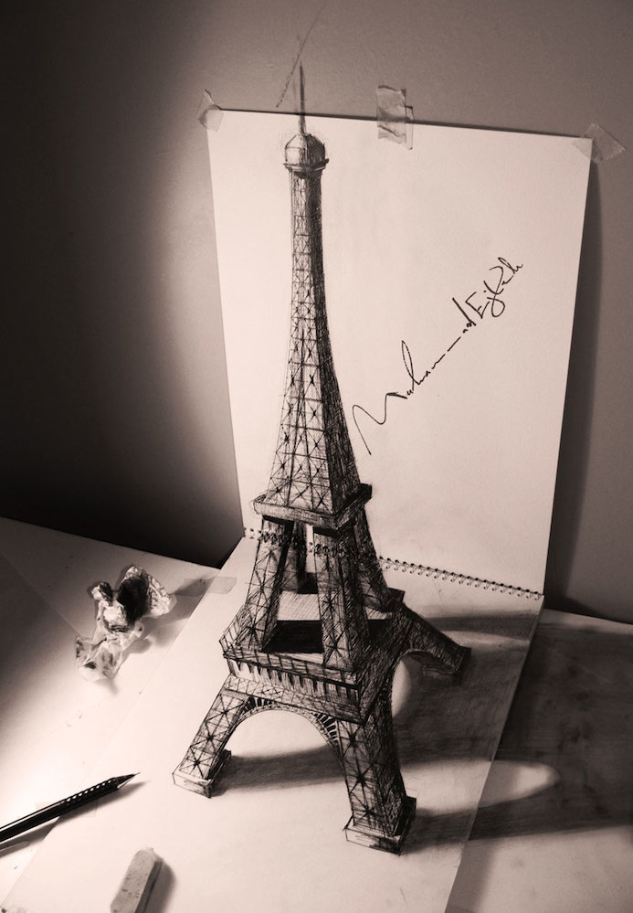 tour eiffle illusion 3D dessin