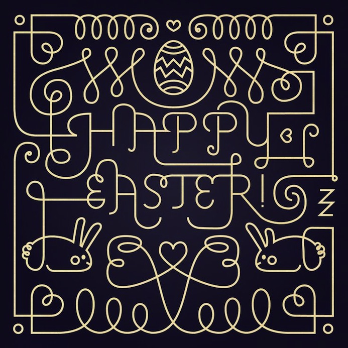 Happy esater - le papier - typography 5